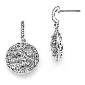 925 Sterling Argento Pavimentazione Rhodium placcato e cubico polacco Round Dangle Post Orecchini
