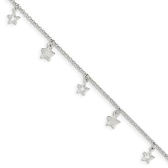 925 Sterling Silver Fancy Lobster Closure Polished and Textured Star With 1inch Ext. Anklet  9 Inch Jewelry Gifts for Wo