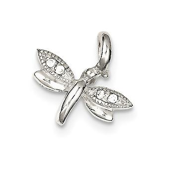 925 Sterling Silver Solid Polished Open back Dragonfly Cubic Zirconia Pendant
