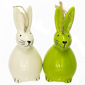Suspendu en céramique lapin pour les arbres de Pâques