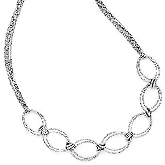 925 Sterling Silver Fancy Link Necklace With 2inch Ext - 10.6 Grams - 17 Inch
