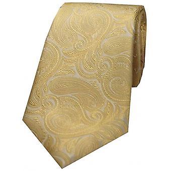 David Van Hagen luxe Paisley cravate en soie - or Champagne