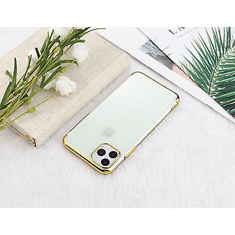 Electroplated TPU shell iPhone 11 Pro Max with two screen protectors.