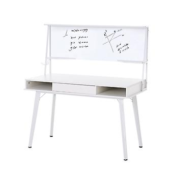 HOMCOM Home Office Computer table with whiteboard Storage Desktop study workstation Adjustable Feet White