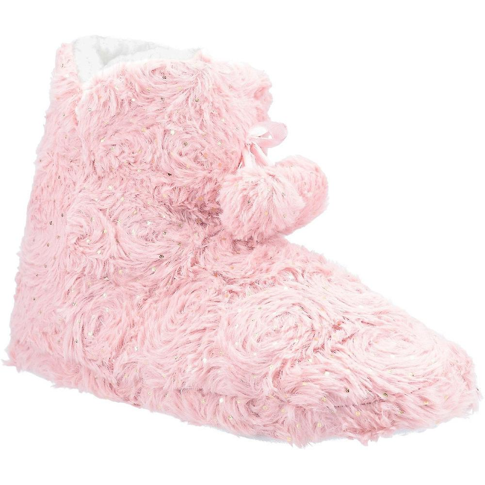 Divaz Womens Lottie Knitted Plush Shimmer Bootie Slippers aNVTV