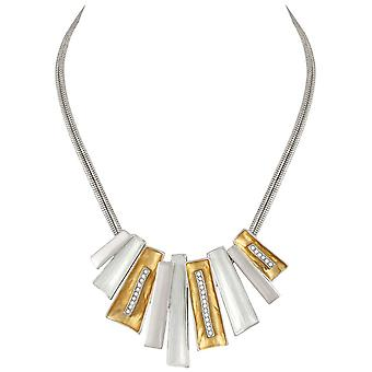Eternal Collection Contempo Gold And Silver Crystal Statement Necklace