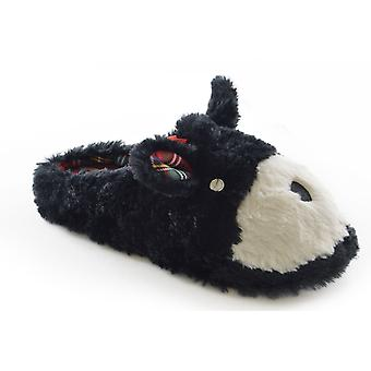 SlumberzzZ Womens Faux Fur Scottie cão Design mula chinelos
