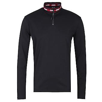 HUGO Doder Funnel Zip Neck Black T-Shirt