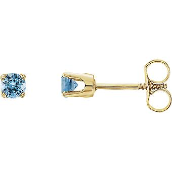 14k Yellow Gold Simulated Aquamarine Polished Youth Earrings Jewelry Gifts for Women