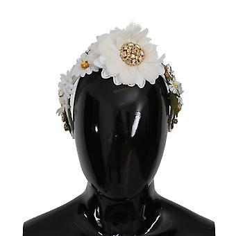 Dolce & Gabbana Yellow White Sunflower Crystal Floral Headband