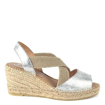 Kanna Ania Silver Leather Espadrille Wedge Sandal