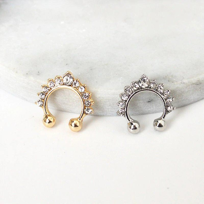 Nose-Ring and Ear Cartilage Earring - Gold
