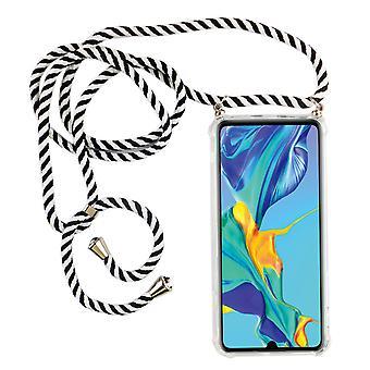 Cadeia telefônica para Huawei P30 lite Nova Edição - Caixa de colar de smartphone com fita - Cordão com Case para Pendurar em Preto