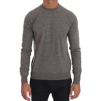 Cavalli Gray Wool Crewneck Pullover Sweater