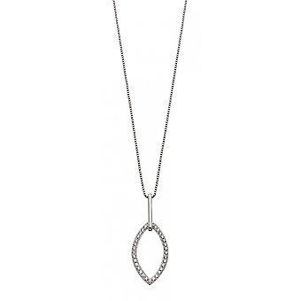 Fiorelli Silver & Clear Cz Double Navette Pendant