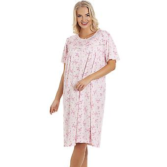 Camille Womens Pink Polycotton Short Sleeve Floral Nightdresses