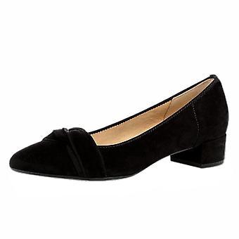 Gabor Prince Moderne læder blok hæl pumper i sort ruskind