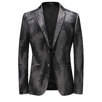 Allthemen Men's Slim Fit Suit Jacket 2 Buttoned Floral Printed Formal Blazer