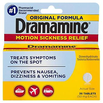 Dramamine motion sickness relief tablets, original formula, 36 ea
