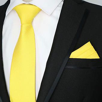 Bright sunshine yellow block tie & pocket square set