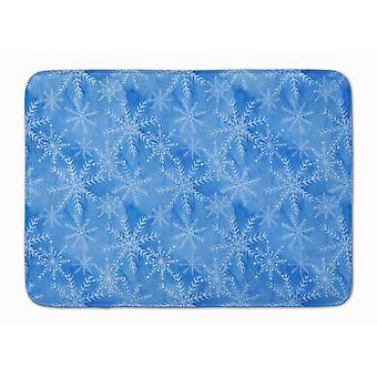 Watercolor Dark Blue Winter Snowflakes Machine Washable Memory Foam Mat