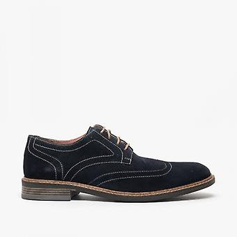 Roamers Floyd Mens Suede Contraste Brogue Shoes Navy