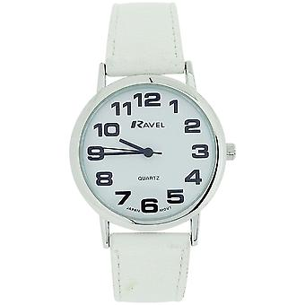 Ravel Ladies Jumbo White Dial & White PU Buckle Strap Watch R0105.13.4A