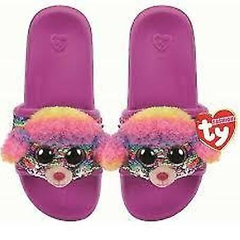 TY Flippable Sequin Flip Flops - Rainbow The Poodle - Size Large (3-5)