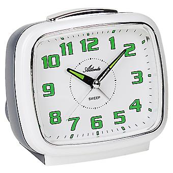 Atlanta 1995/0 Alarm clock quartz analog white grey quiet without ticking with light