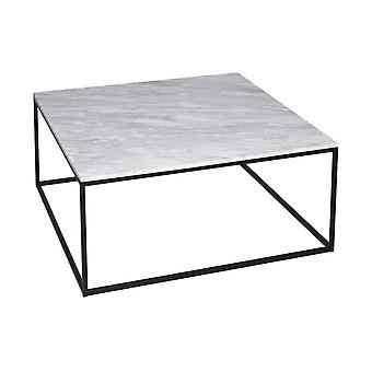 Gillmore White Marble And Black Metal Contemporary Square Coffee Table