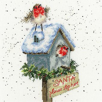 Bothy Threads Cross Stitch Kit - Santa Please Stop Here