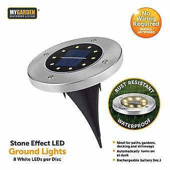 2 Pack LED Solar Stake Path Light for Garden Bright 8 LED Per Disc Ultra Bright