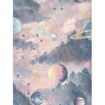 Glitter Planets Wallpaper Pink / Multi Arthouse 292900