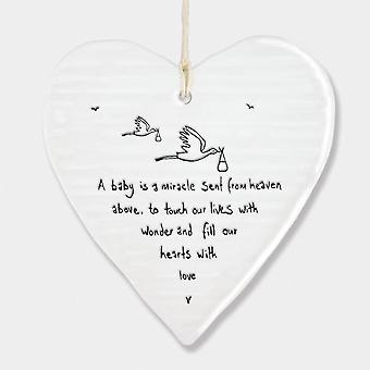 East of India Porcelain Hanging Heart 'A baby is a miracle..' New Baby Gift