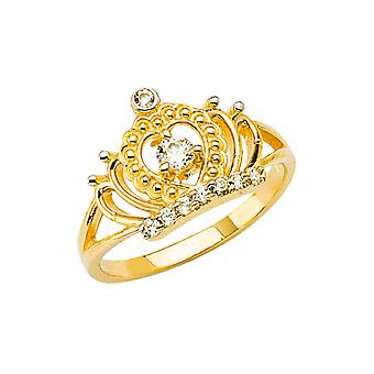 14k Ouro Amarelo CZ Zircônia Cúbica Simulada Diamante Coroa Meninos e Meninas Anel Tamanho 3 - 1,5 Gramas