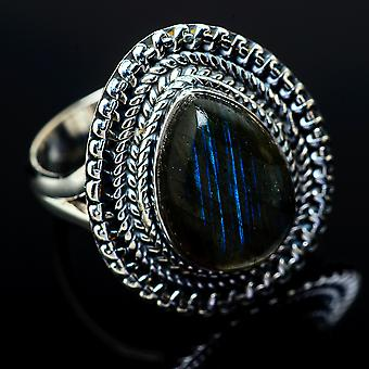 Labradorite Ring Size 9 (925 Sterling Silver)  - Handmade Boho Vintage Jewelry RING11961