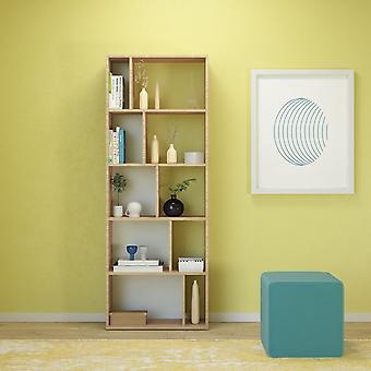 Libreria Skip Color Bianco, Legno Naturale in Truciolare Melaminico 62x24x166 cm