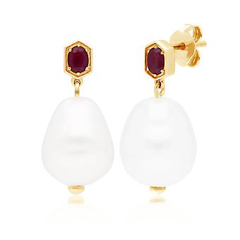 Modern Baroque Pearl & Ruby Drop Earrings in Gold Plated Sterling Silver 270E028203925