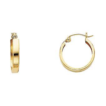 14k giallo oro Pianura abbraccio orecchini 15x15mm regali di gioielli per le donne - 1.0 Grams