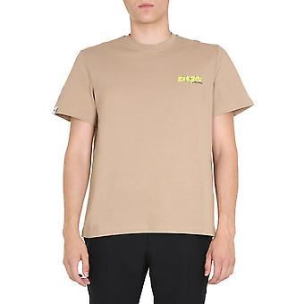 Msgm 2840mm21220709523 Mænd's Beige Bomuld T-shirt