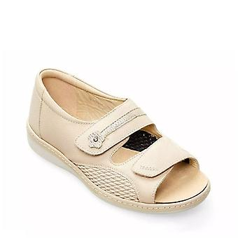 Padders Peaceful Ladies In pelle Super Wide (4e) Sandali Beige