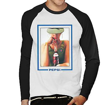 Pepsi Retro 80s Army Girl Men's Baseball Long Sleeved T-Shirt
