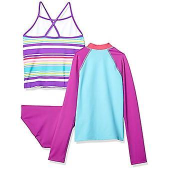 Brand - Spotted Zebra Big Girls' 3-Piece Swim Set with Rashguard and Tankini , Purple Multi Stripe, Medium (8)