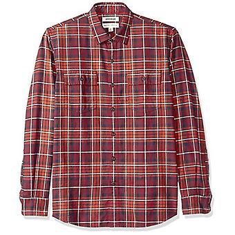 Goodthreads الرجال & apos;ق القياسية صالح طويل الأكمام منقوشة Twill قميص, -الصدأ البحرية plai ...