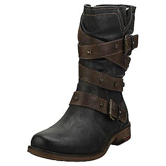 Mustang Winter Ankle Boots Womens Biker Boots in Graphite