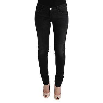 Negro denim algodón inferiores ajustados jeans - SIG3446896