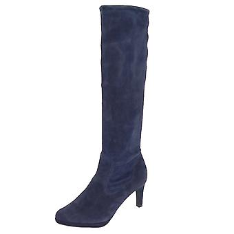 Peter Kaiser Pauline Pull On Stretch Knee High Boots In Navy Suede