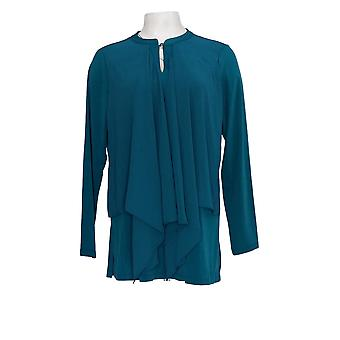 Susan Graver Women's Top Liquid Knit Tunic w/ Chiffon Overlay Green A370875