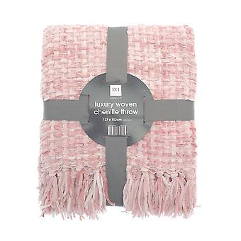 Country Club Chenille Throw, Pink 127x152cm