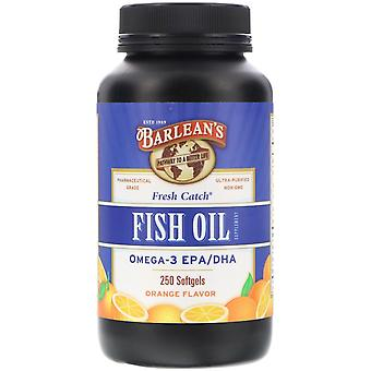 Barlean's, Fresh Catch, Fish Oil Supplement, Omega-3 EPA/DHA, Orange Flavor, 250